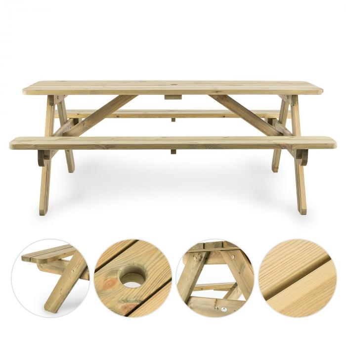 Picknicker 180 Picnic Table Garden Furniture 32 mm Pine Wood 45 kg FSC-certified wood