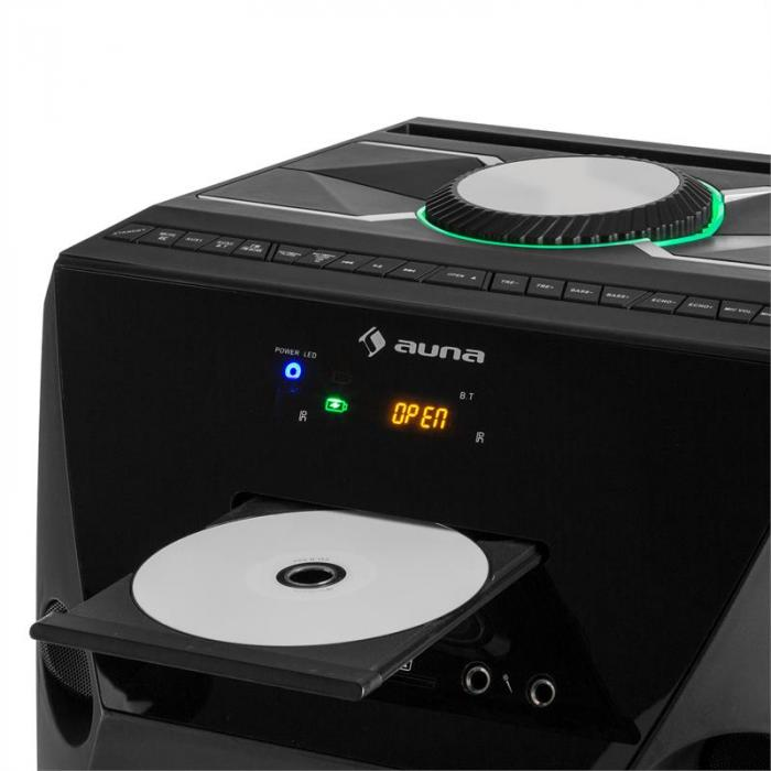 Brooklyn Beat mobiele partybox 100W RMS bluetooth USB SD CD speler UKW LED