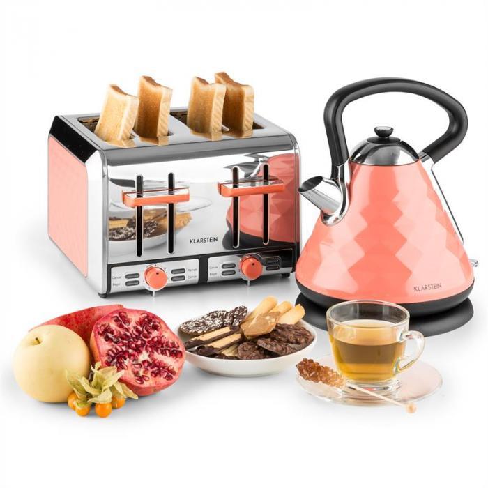 Curacao Coral Toaster 4 Piastre Acciaio Inox 1500 Watt Corallo