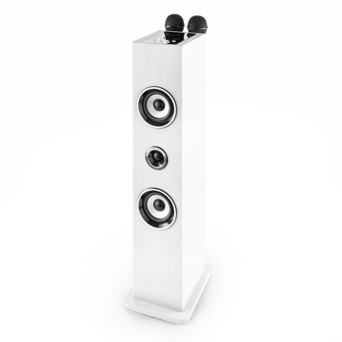 Karaboom Bluetooth Speaker USB AUXKaraoke 2 x Microphone white