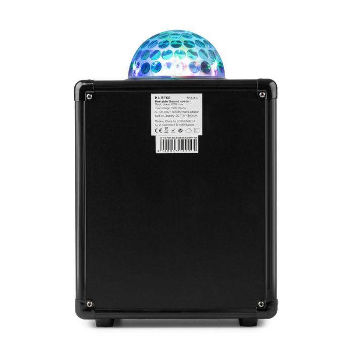 Kube 60 portable Bluetooth-kaiutinboksi USB SD AUX UKW akku Astro-RGB-L