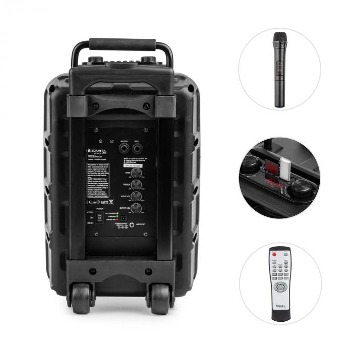 POWER 8 LED MKII mobiele PA luidspreker 120W bluetooth USB/SD UKW accu