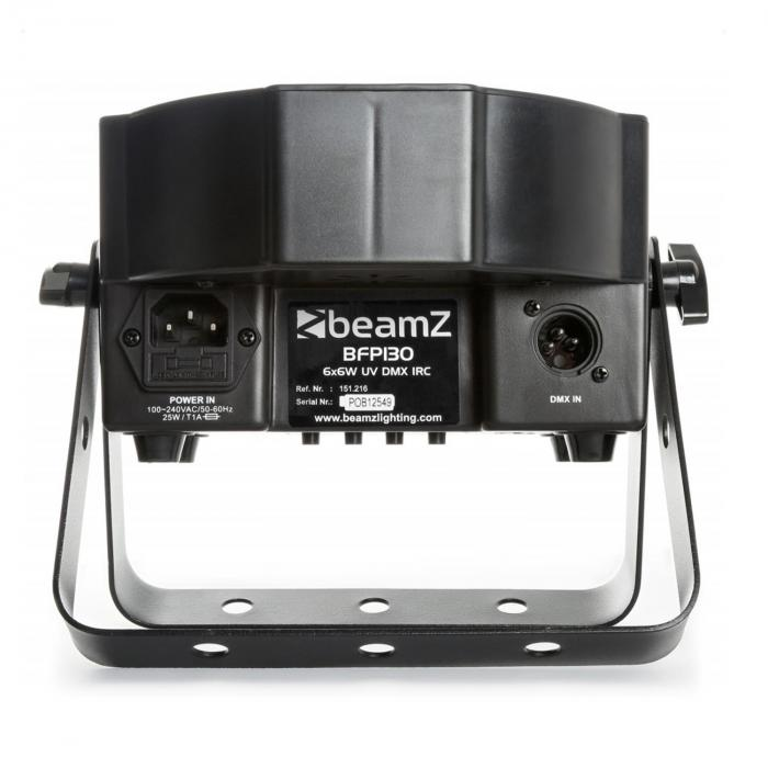 BFP130 FlatPAR LED-valonheitin 6 x 6 W UV-LED-valot DMX infrapunakaukosäädin