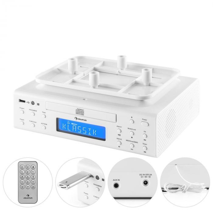 KRCD-150 kitchen radio CD USB AUX FM RDS alarm remote control white