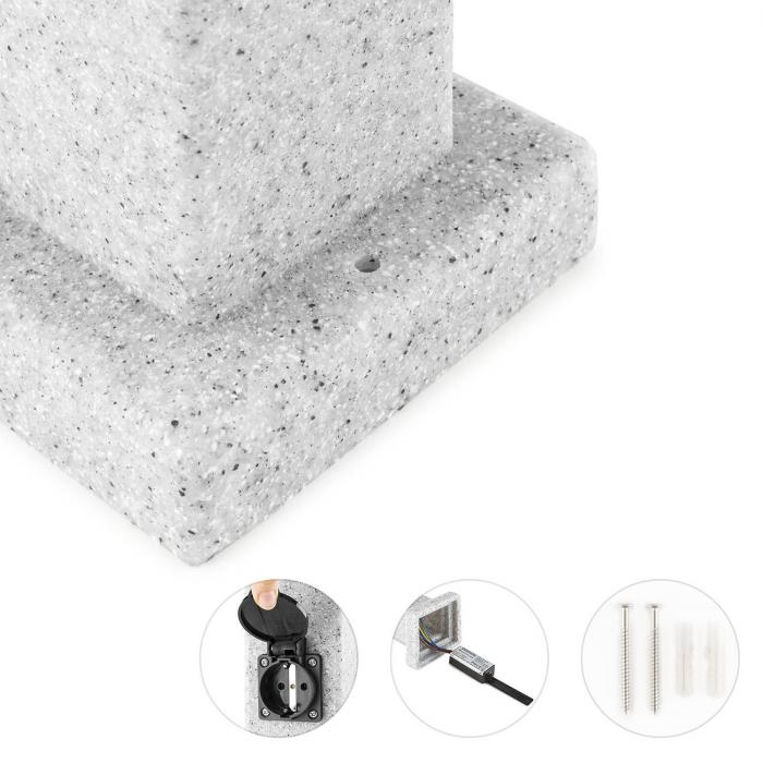 Granite Power puutarhapistorasia pistorasiapylväs 4-osainen 3500 W PE kivi