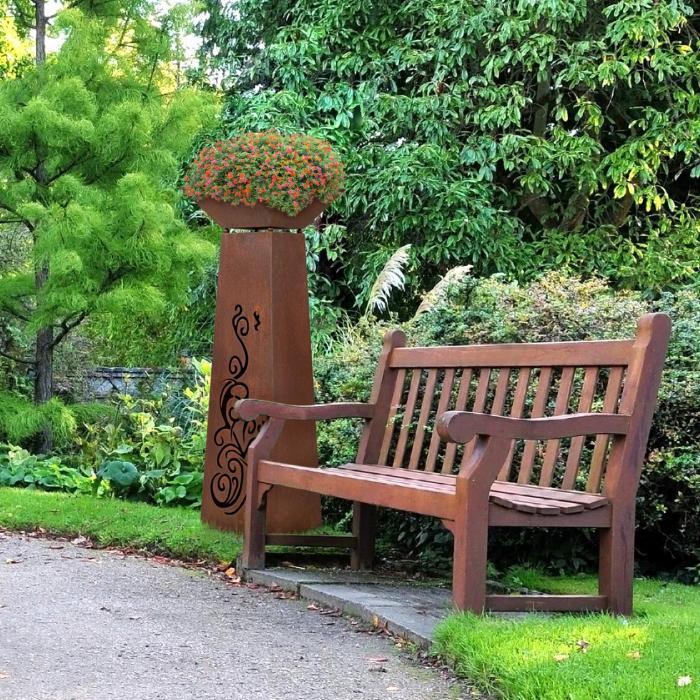 Flower Tower kasvitorni kukkapilari tuliallas teräs ruoste-design