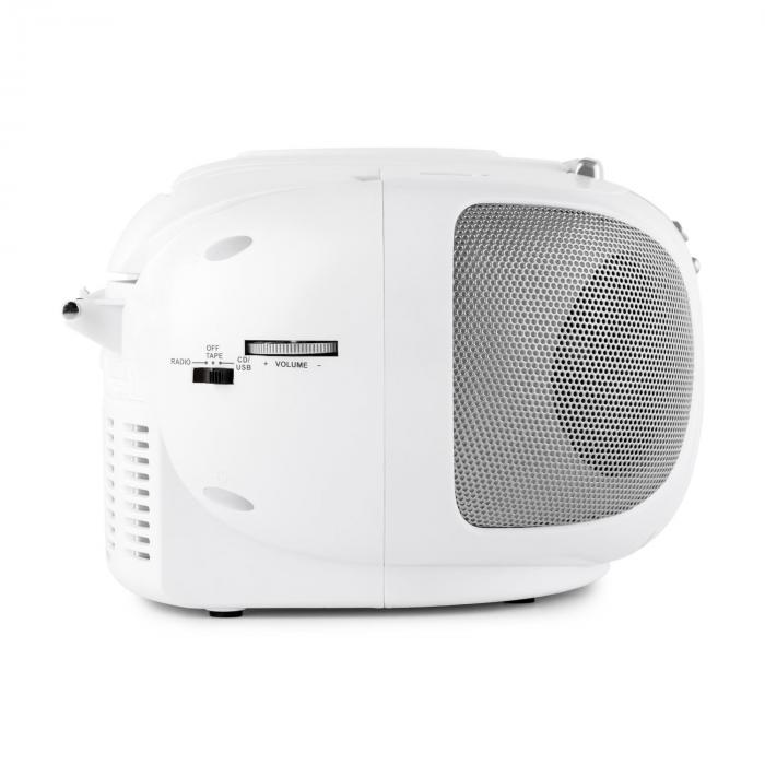 BoomBerry Boom Box Radio Lettore CD/MP3 Piastra Cassette Bianco