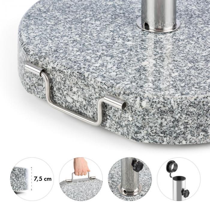 Schirmherr 30SQ aurinkovarjon jalka parvekkeelle 30 kg, harmaata graniittia, pyöreä
