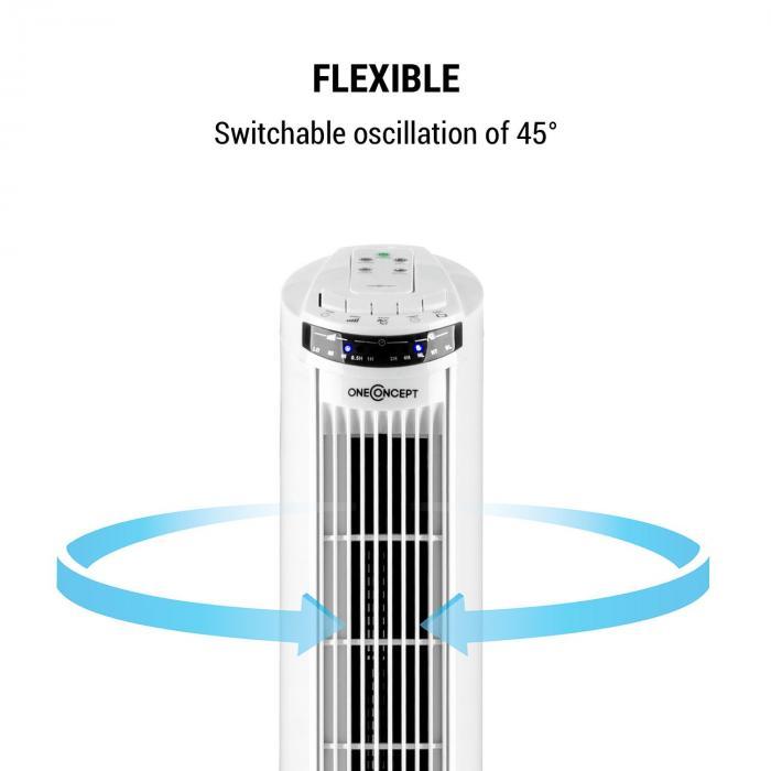 Blitzeis ventilateur colonne sur pied 40 W oscillation à 45° blanc