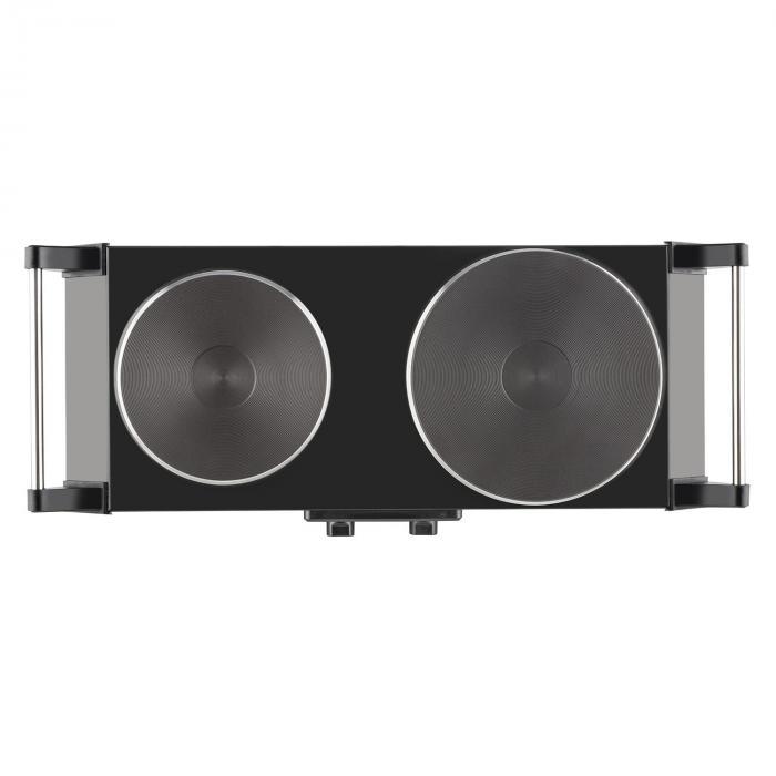 Cookorama Placa de cocción doble 2500W Ø15,5/18,5 cm Acero inoxidable negra