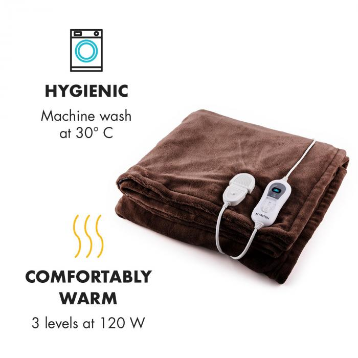 Dr. Watson L Electric Heating Blanket 120W Washable 150x100cm Microplush Brown