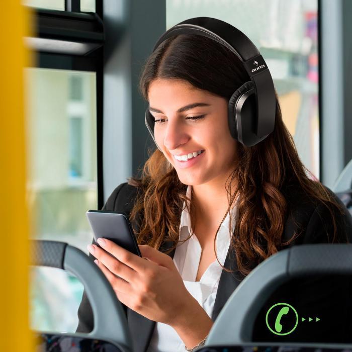 Elegance Bluetooth-NFC-kuulokkeet akku kaiutin tekonahka musta