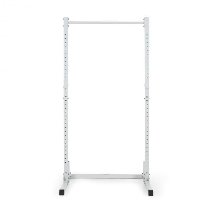 HR 1100 Weight Lifting Rack Half Rack 2 J-Hooks Pull Up Bar White