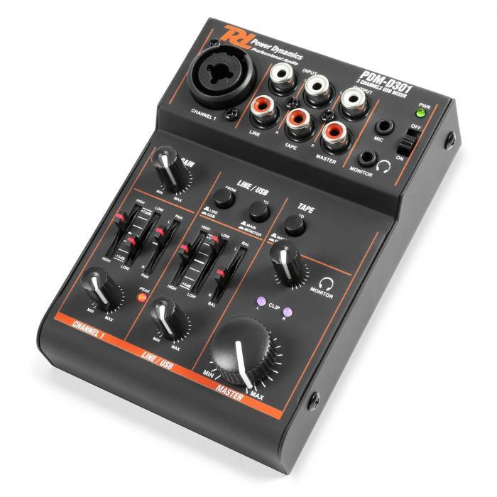 PDM-D301 3-kanaals mixer USB mengpaneel 2-weg equalizer
