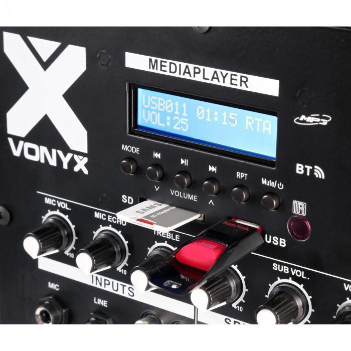 """VX1000BT 2.2 Aktivlautsprecher-Set 1000W 10""""-Subwoofer BT USB SD MIC AUX"""