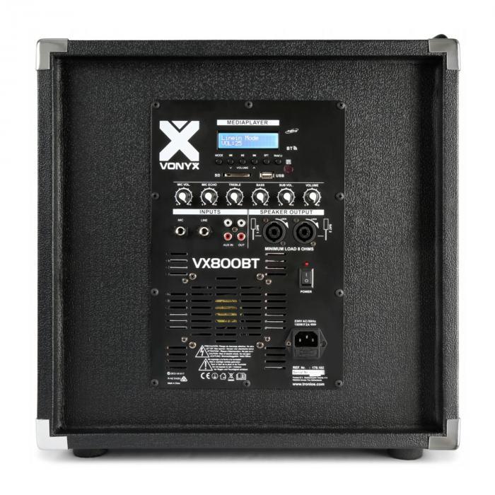 """Vonyz VX800BT 2.1 aktiivikaiutinsetti 800 W 12"""" subwoofer 2 x 8"""" kaiutin bluetooth USB SD"""