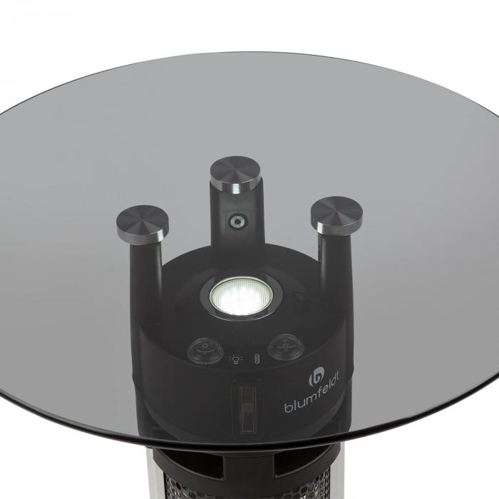 Primal Heat 65 Bistrotisch-Heizstrahler Karbon-IR-Heizelement 1200W LED 65cm Glas