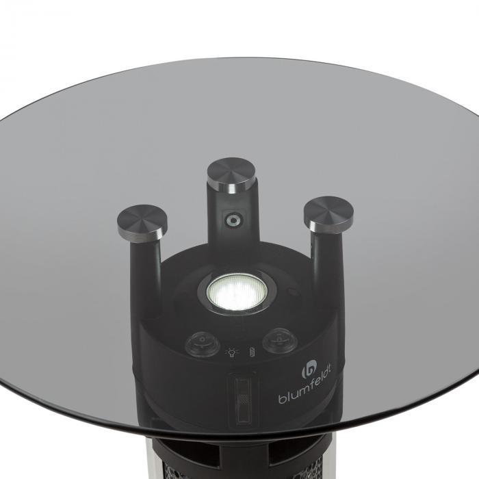 Primal Heat 95 Stehtisch-Heizstrahler Karbon-IR-Heizelement 1600W LED 95cm Glas