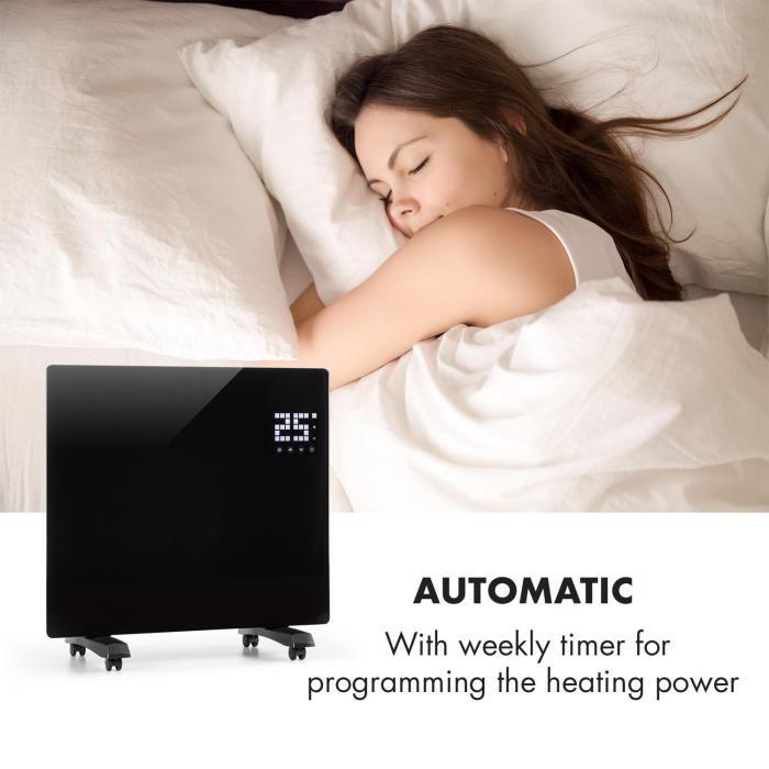 Bornholm SingleConvection Heater Thermostat Timer 1000W black