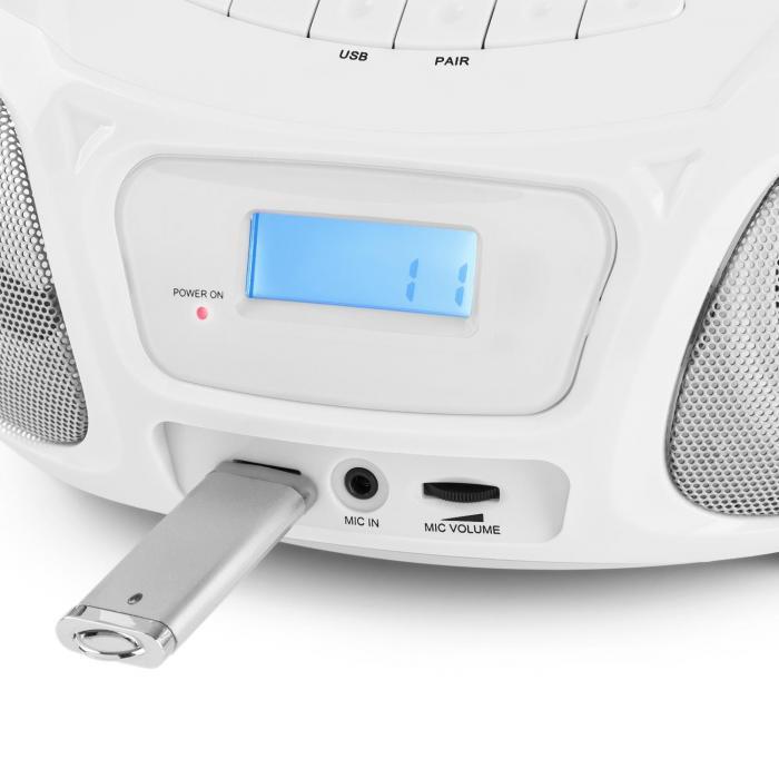 Roadie Sing CD Boombox UKW-radio valoshow CD-soitin mikrofoni valkoinen