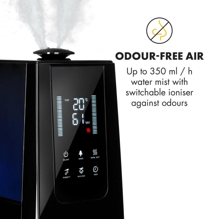 VapoAir Air Humidifier Ioniser 350ml/h 5.5lTank Aroma Remote Control