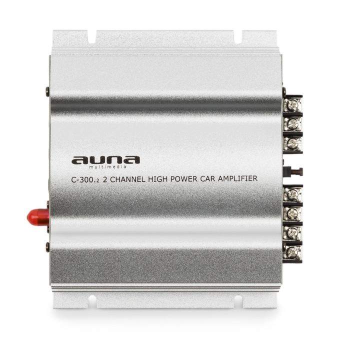 C300.2 Dual Channel Amplifier Auto Power Amp 800W PMPO 200W RMS Silver