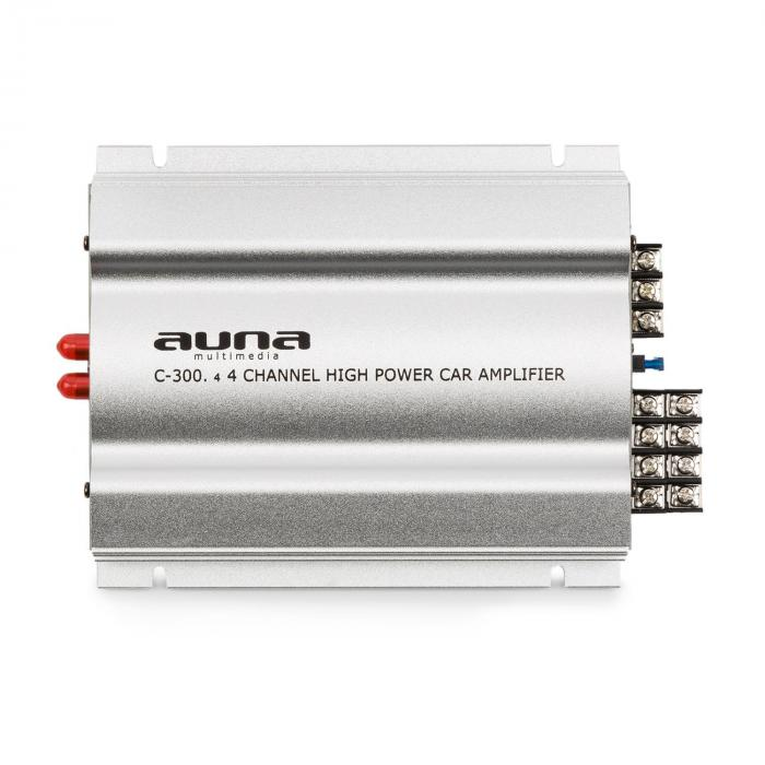 C300.4 4-Channel Amplifier Auto Power Amp 1200W PMPO 300W RMS Silver