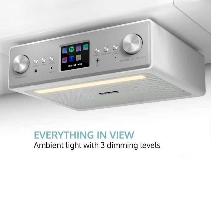 "Connect Soundchef Radio Sottopensile Da Cucina Internet DAB+ VHF Casse 2x3"" Bianco"