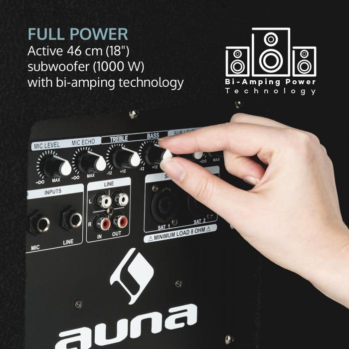 "Sub 18A Subwoofer PA Attivo, 1000 Watt, 18"" (46 cm)"