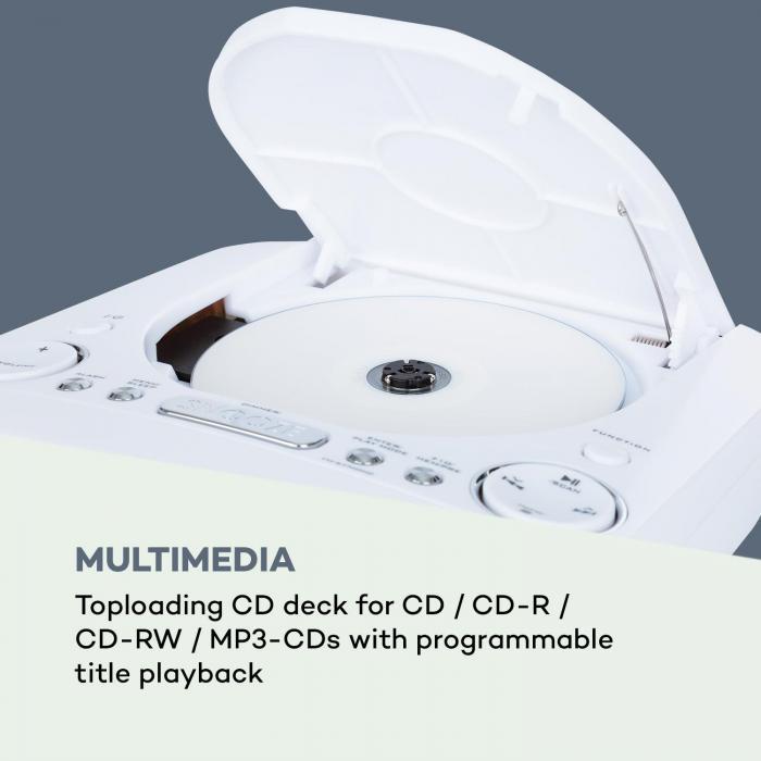 Dreamee DAB+ Radiosveglia Lettore CD DAB+/VHF CD-R/RW/MP3 AUX Retrò Bianco