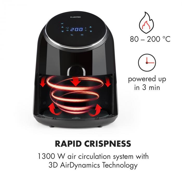 AirVital Friggitrice ad Aria 1300W 2,5l CeraPlus-Antiaderente Touch nero