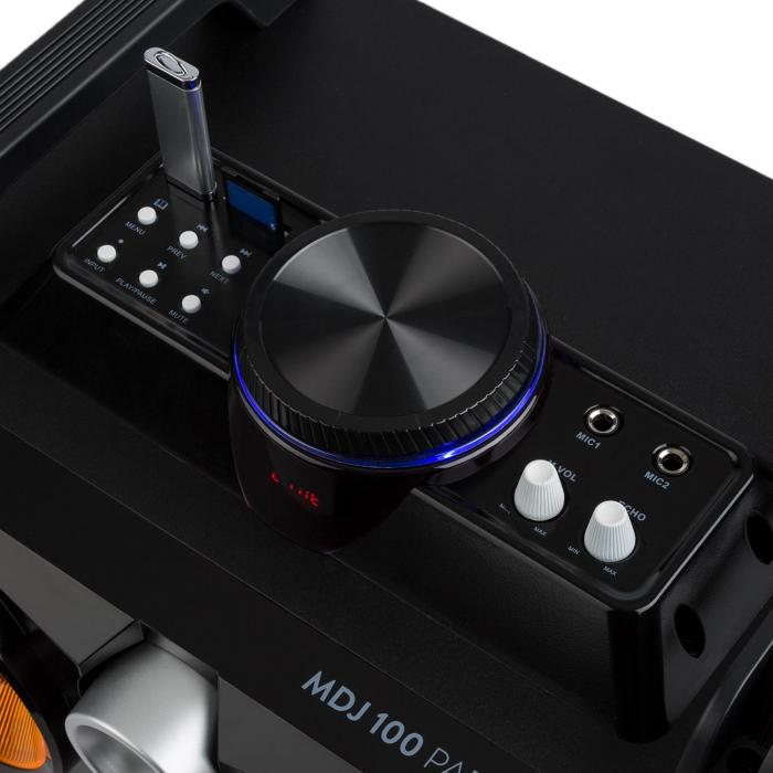 "MDJ100 mediasoitin USB SD BT AUX 100W vahvistin 2x4"" kaiutin RGB-LED"