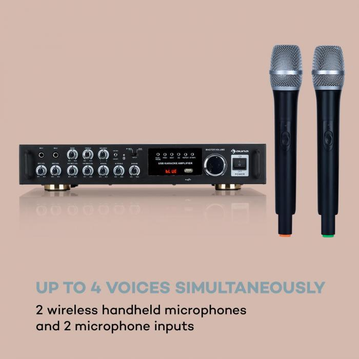 Karaoke Star 4 Karaoke Set, 2 x 80 W max., BT, USB Port, 2 x Mic Wireless