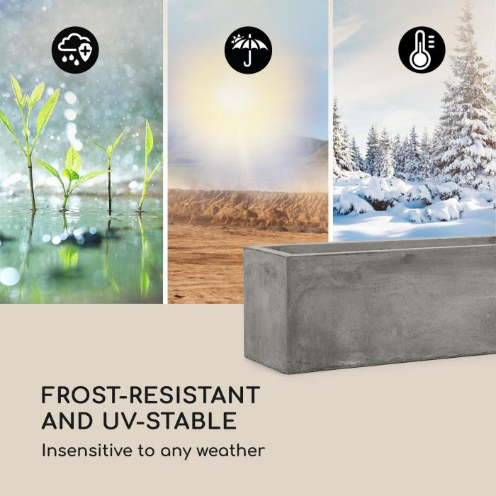 Solidflor Vaso 75 x 20 x 20 cm Vetroresina In-/Outdoor grigio chiaro