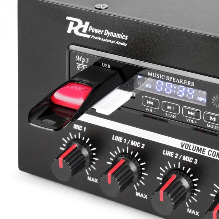 PBA120 Amplificador 100V 120 W USB/SD MP3 Bluetooth