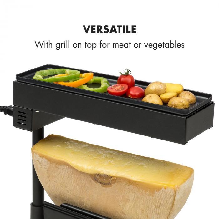 Appenzell Peak Raclette con Grill 1000 W Interruttore Termostatico Nero