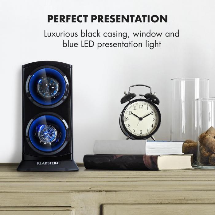 st gallen premium uhrenbeweger 2 uhren 4 geschwindigkeiten schwarz online kaufen elektronik. Black Bedroom Furniture Sets. Home Design Ideas