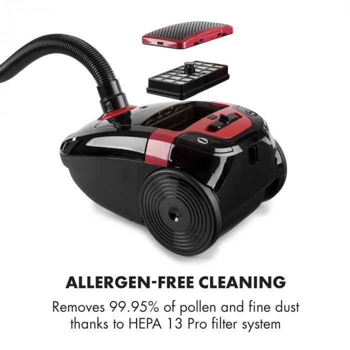Aspirapolvere Klarstein Mister Eco 450W HEPA13 EEC-A++ nero/rosso