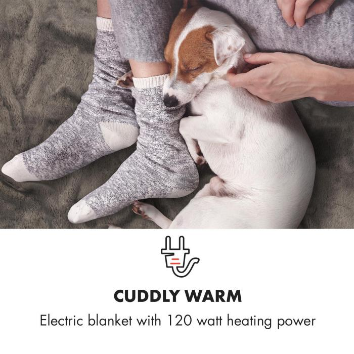 Dr. Watson SuperSoft Electric Blanket 120W 180x130cm Teddy Plush Cream / Grey