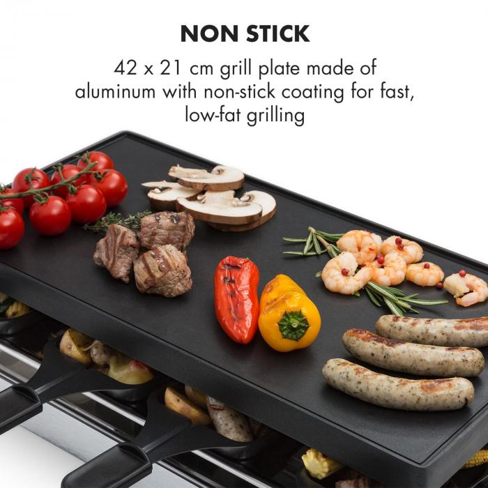 Gourmette Raclette 1200W griglia in alluminio 8 persone in acciaio inox