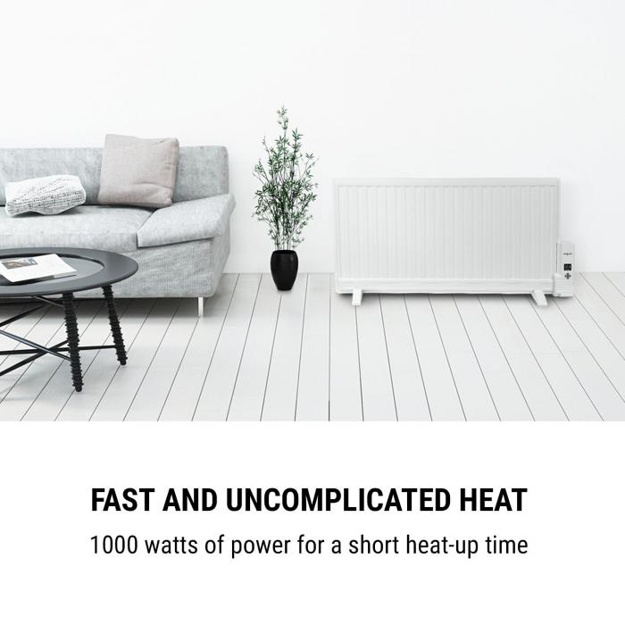 Wallander Oil Radiator 1000W Thermostat Oil Heater Ultra Flat White