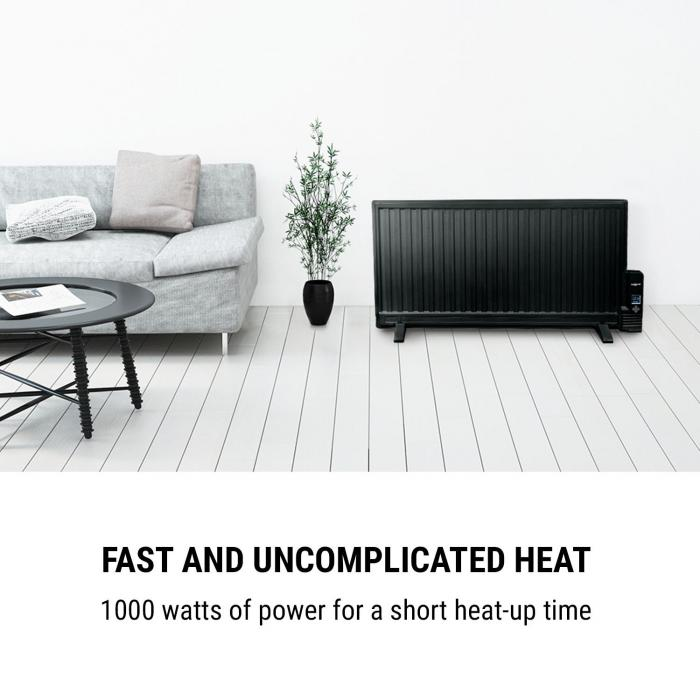 Wallander Oil Radiator 1000W Thermostat Oil Heater Ultra Flat Black