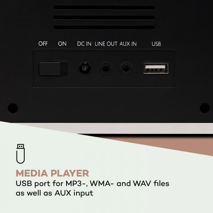 "DR-160 BT Rádio DAB+/FM USB AUX Display TFT 2.4"" Comando de Controlo Remoto Branco"