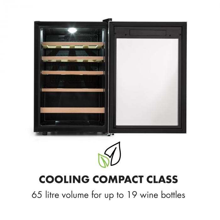 Vinamour 19 Wine Cooler 19Fl./65l | 4-18 ° C | 39dB | Glass | Black