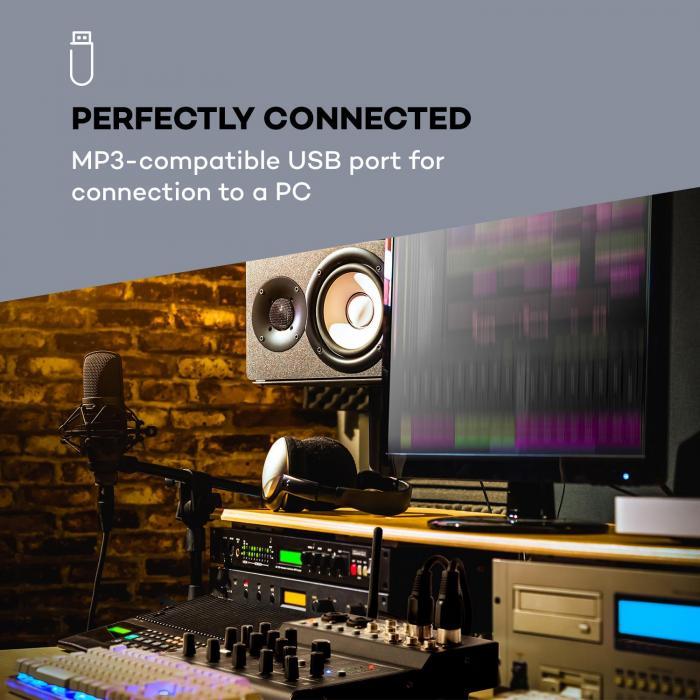 Blackbird 6-kanavainen mikseri miksauspöytä, bluetooth, USB, MP3, 2 x XLR-mikrofoni, musta