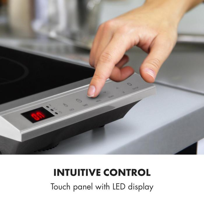 MisterCook Hotplate Infrared 2000W 90-650 ° C Shut-Off Timer Silver