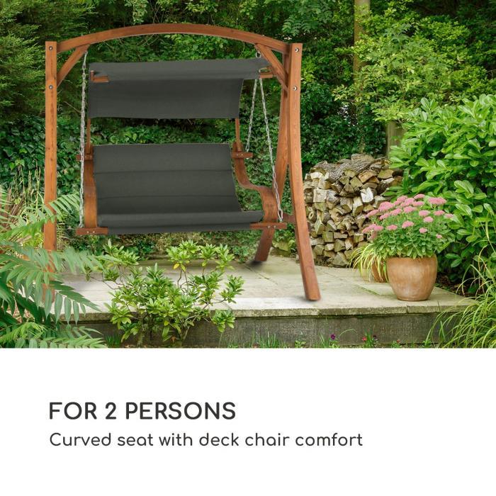 Maui Balancelle de jardin 110cm 2 places bois massif polyester gris fo