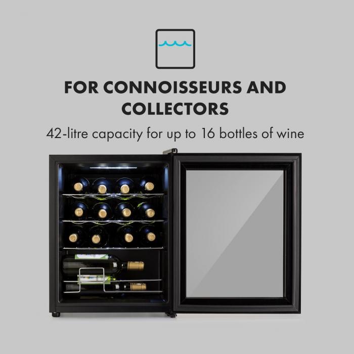 Shiraz Weinkühlschrank 42l Touch-Bedienfeld 131W 5-18°C schwarz