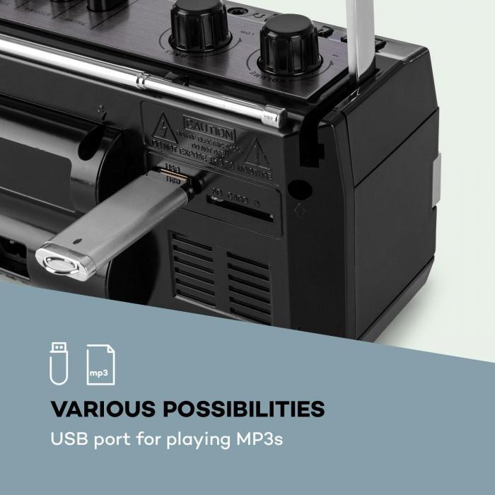 Duke MKII kasettisoitin radio bluetooth USB SD teleskooppiantenni musta punainen