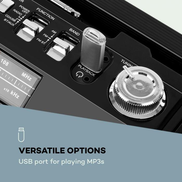 Oldschool Lettore Rétro 80's CD BT USB MP3 FM Antenna Batteria nero